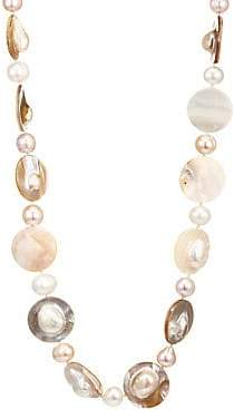 Kenneth Jay Lane Women's 8MM & 18MM Freshwater Pearl 22K Goldplated Shell Strand Necklace