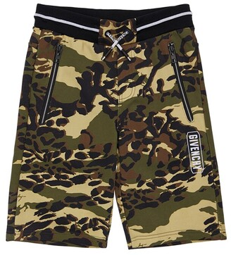 Givenchy Camouflage Print Cotton Sweat Shorts