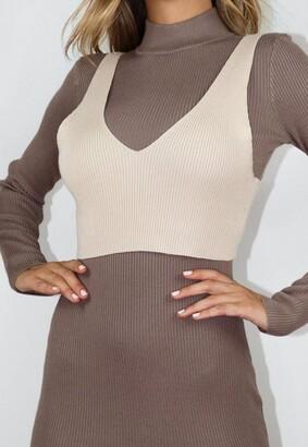 Missguided Gray 2 Piece Knit Maxi Dress