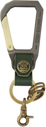 Master-piece Co Green and Gunmetal Carabiner Keychain