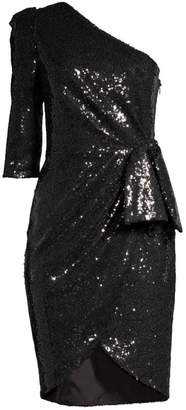 Black Halo Nara Sequin One-Shoulder Sheath Dress