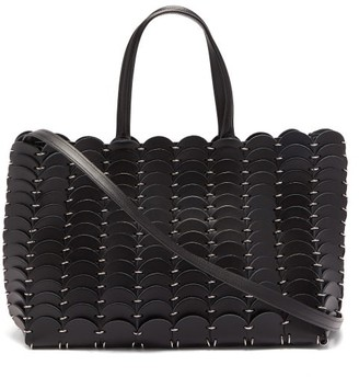 Paco Rabanne Chainmail & Woven Leather Tote Bag - Black