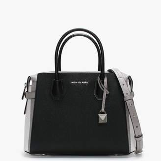 Michael Kors Medium Mercer Belted Tri-Colour Pale Grey Optic White & Black Pebbled Satchel Bag