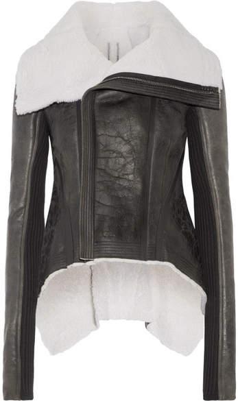 Rick Owens Leather-trimmed Shearling Biker Jacket
