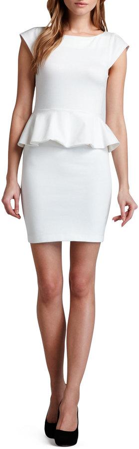 Alice + Olivia Victoria Ponte Peplum Dress, Cream