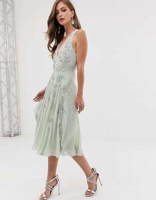 ASOS DESIGN twist strap pretty pearl embellished midi dress