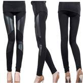 Cibeat Sexy Women Stitch Stretchy Faux Leather Black Slim Leggings Skinny Jegging Pant Colors: Sizes:M