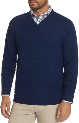 Robert Graham Randie Merino Wool V-Neck Sweater