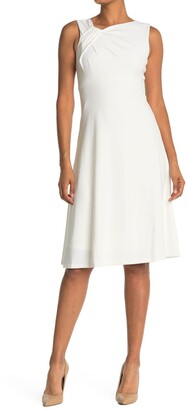 Calvin Klein Asymmetric Neck A-Line Dress