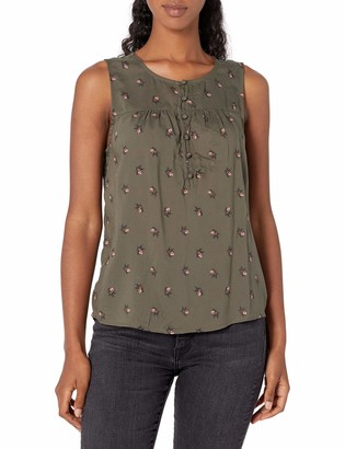 Lucky Brand Women's Sleeveless Printed Henley Tank Top