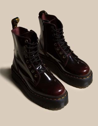 Dr. Martens Jadon Arcadia Leather Womens Cherry Red Platform Boots