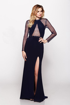 Milano Formals - Sheer Bodice Long-Sleeved Illusion Evening Gown E2100