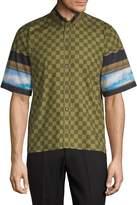 Givenchy Men's Checkered Sky Short-Sleeve Cotton Button-Down Shirt
