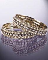 set of 2 - pearly and crystal medium bangles