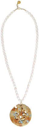 Devon Leigh Pearl-Strand Carved Jade Pendant Necklace