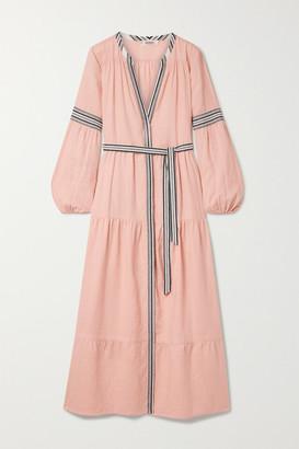 Lemlem Koki Belted Jacquard-trimmed Linen-blend Maxi Dress - Blush