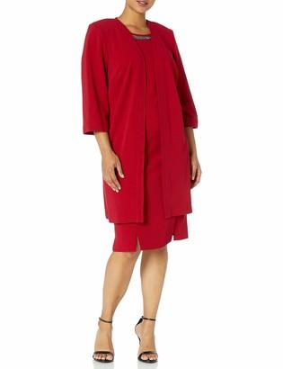 Maya Brooke Women's Plus Size Embellished Neck Jacket Dress