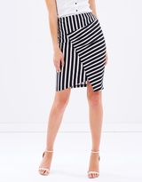 Privilege Panelled Stripe Skirt
