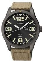 Seiko Mens Black Stainless Steel Watch with Beige Nylon Strap