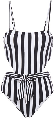 Onia Rumi Belted Cutout Striped Ribbed Swimsuit