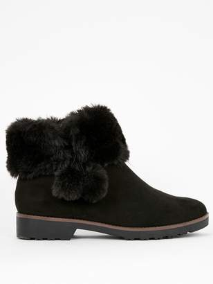 Evans Wide Fit Andalusia Fur Pom Pom Ankle Boot