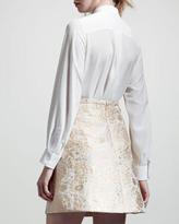 Chloé Metallic Jacquard Lampshade Skirt, Natural/Gold