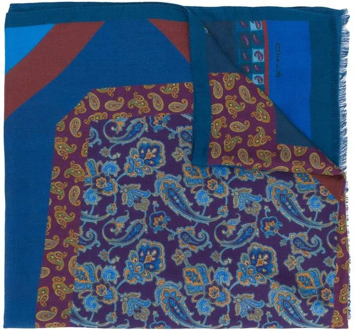 Etro paisley colourblock scarf