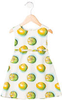 Christian Dior Girls' Lemon Printed Sleeveless Dress