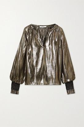 Derek Lam 10 Crosby Helena Oversized Silk And Lurex-blend Blouse - Gold