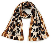 Vince Camuto Blur Leopard-Print Oblong Silk Scarf
