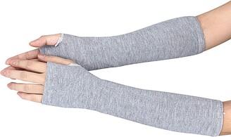 DEELIN Sale Clearance Fashion Winter Warm Wrist Arm Hand Warmer Knitted Long Fingerless Gloves Mitten Working Outdoor Ladies Thick Gloves Deep Gray