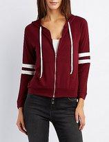 Charlotte Russe Varsity Stripe Zip-Up Hoodie