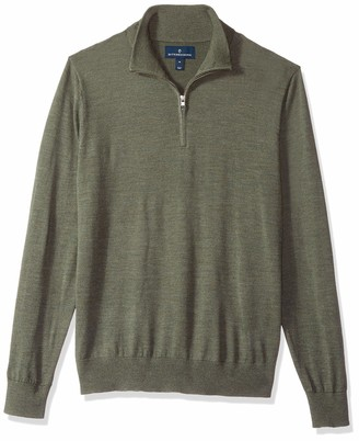 Buttoned Down Men's Italian Merino Wool Lightweight Quarter-Zip Jumper Midnight Navy X-Small