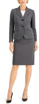 Le Suit Petite Dot Jacquard Skirt Suit