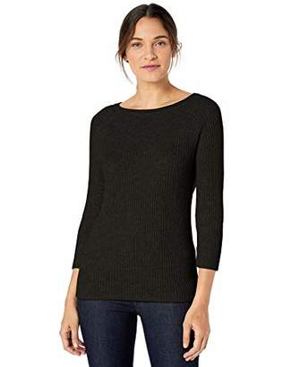 Lark & Ro Women's 3/4 Sleeve Ballet Neck Rib Sweater