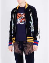 Gucci Oriental-embroidered Velvet Bomber Jacket