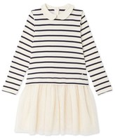 Petit Bateau Girls long-sleeved, mixed-fabric dress