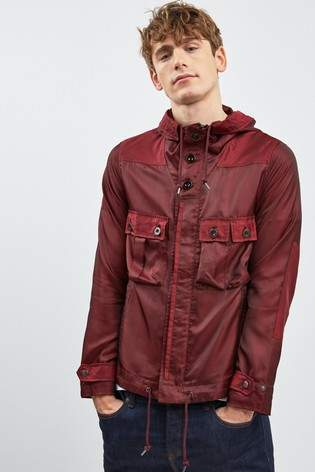 Next Mens Pretty Green Burgundy Iridescent Lightweight Jacket