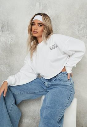 Missguided White Raw Hem Cropped Sweatshirt