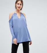 John Zack Tall Plunge Top With Metal Neck Detaiil