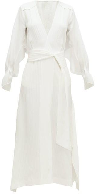 Roland Mouret Springbrooke Chevron-jacquard Silk-crepe Dress - White