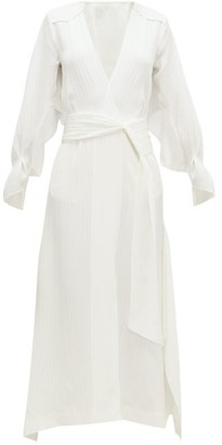Roland Mouret Springbrooke Chevron-jacquard Silk-crepe Dress - Womens - White