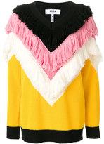 MSGM tiered fringe v-neck jumper