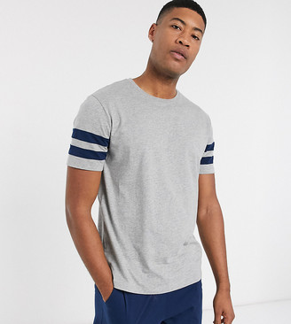 Asos DESIGN Tall lounge pyjama short and tshirt set with stripe and branded waistband in navy