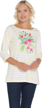 Factory Quacker Striped Tropical Floral Boatneck Knit T-shirt