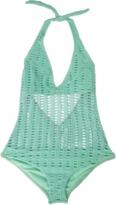 Nicolita Swimwear - Deep V Crochet One Piece Swimsuit Mint