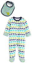 Offspring Elephant Print Footie & Bib Set (Baby Boys)