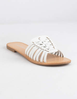 City Classified Basket Weave White Womens Sandals