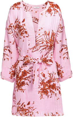 Joie Floral-print Linen-jacquard Kaftan