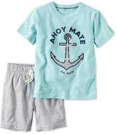 Carter's 2-Pc. Cotton Ahoy Mate T-Shirt & Striped Shorts Set, Baby Boys (0-24 months)